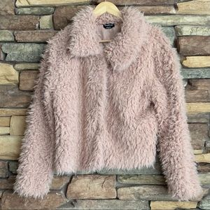 Bebe Faux Fur Pink Coat Large